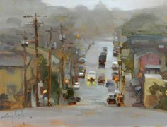 "Kim English, Mists of Portland, oil on panel, 10"" x 12"""
