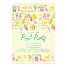 Shop It's a Summer Beach Pool Party Invitation created by celebrateitinvites. Beach Pool, Summer Beach, Summer Fun, Pool Party Birthday Invitations, Zazzle Invitations, Invites, Flip Flops, Birthday Ideas, Summer Birthday