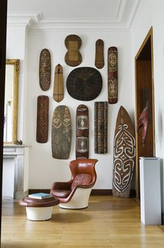 African inspiration #modern #interior #design African Masks sets off the area
