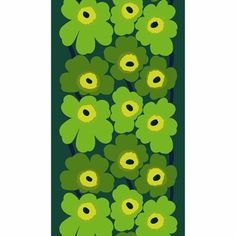 Marimekko Unikko Green / Lime Fabric In Kristina Isola created her Unikko pattern in revolt against the order that no flower prints be printed at Marimekko. Now her Unikko pattern is Marimekko's most popular design, and is more bold. Textile Prints, Textile Design, Marimekko Fabric, Marimekko Dress, Color Patterns, Print Patterns, 7 Plus Wallpaper, Bauhaus Textiles, Homescreen Wallpaper