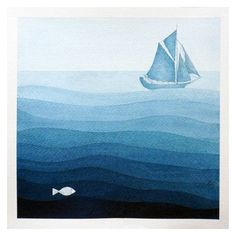 Print sailboat illustration, blue, watercolor painting, nautical... ❤ liked on Polyvore featuring home, home decor and wall art