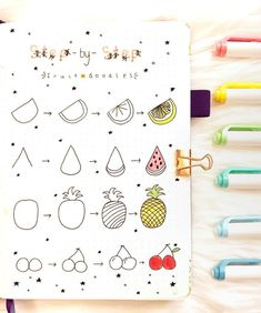 Step by step guide on how to draw fruit doodles | drawing by ig@bujoabby