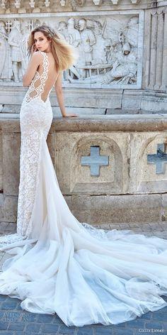galia lahav fall 2016 bridal sleeveless lace strap sweetheart sheath lace wedding dress / http://www.himisspuff.com/open-back-wedding-dresses/3/