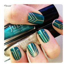 Art Deco green & gold nails. You can also use Zoya's Giovanna (green metallic) and Ziv (gold). #nailart #holidaynails