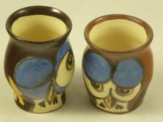 """Two owl """"shot"""" tumblers or eggcups by AlecPDavis on Etsy"""