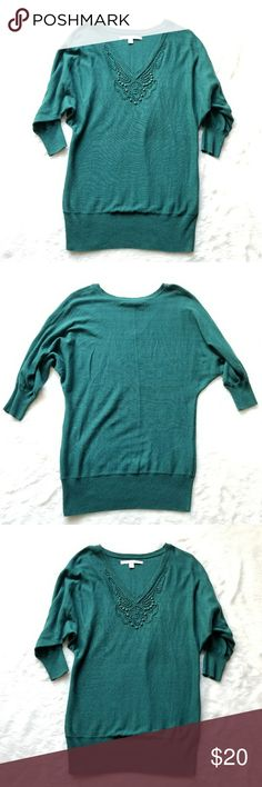 """LC Lauren Conrad Embellished Sweater! Teal green embellished collar v neck 3/4 sleeve sweater by LC Lauren Conrad. Size Medium. Pre-owned and in great condition. Normal wear. 27"""" shoulder to hem, 17.5"""" pit to pit. Comes from a smoke-free pet-free home. Fast shipping! NO TRADES! LC Lauren Conrad Sweaters"""