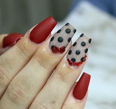 vintage polka dot nails #rednails #mattenails