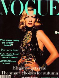 October 1992 Editor Alexandra Shulman Cover Max Vadukal Model wears Chanel couture. All make-up by Chanel. Hair: Sam McKnight. Make-up: Mary Greenwell. Fashion editor: Lucinda Chambers.