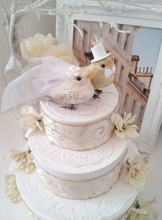 Vintage - made to order love birds  cake topper gold and by MissRoseDanae,