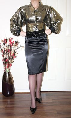 metallic gold puff seeve governess blouse | Flickr - Photo Sharing!