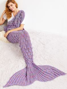 Online shopping for Dusty Purple Crocheted Fish Scale Design Mermaid Blanket from a great selection of women's fashion clothing & more at MakeMeChic. Crochet Fish, Crochet Mermaid, Crochet Crafts, Crochet Projects, Knit Crochet, Blanket Crochet, Purple Bed Linen, Mermaid Tail Blanket, Mermaid Blankets