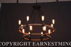 Large-Farmhouse-ROPE-Iron-Chandlier-Light-Bar-Restaurant-14-Bulb-Rustic-Rusty