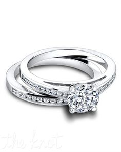 3308 & 3308/B (ring 0.20ct ttl; band 0.22ct ttl ) Feminine and simple. The Harmony Wedding Set is two vintage inspired styles that come together as one. The engagement rings delicate silhouette is accentuated by round diamonds flowing halfway around the ring. Its matching band is the perfect partner in simplicity, and also available in an eternity style. Hand crafted in either Platinum, 18K or 14k Gold.