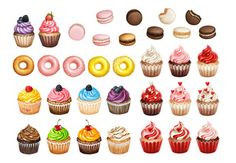 Bakery and pastry products icons set with various sorts of cupcakes, doughnuts and macarons for bakery shop or food design on white…