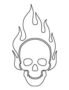 flaming skull pattern use the printable outline for crafts creating stencils scrapbooking