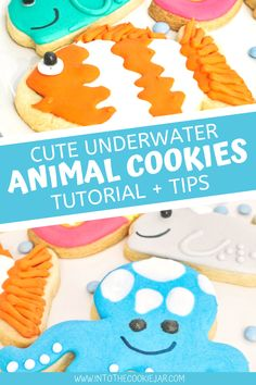 Enjoy this tutorial on cute underwater animal cookies, featuring how to make whale cookies, how to make fish cookies, and more! These sea creature cookies are all made with a sugar cookie base and royal icing topping and are great for underwater themed birthday parties. Colorful Cookies Recipe, Animal Cookies Recipe, Party Cookies Recipe, Cookie Base Recipe, Royal Icing Cookies Recipe, Vanilla Cookies, Whale Cookies, Fish Cookies, Cut Out Cookies