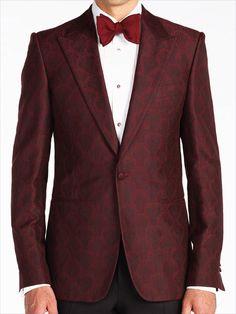 Burgundy Cotton-Silk Jaquard Dinner Jacket