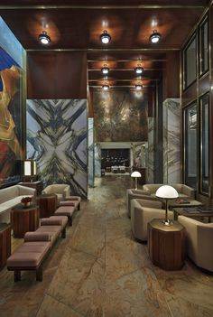 The Viceroy, New York... #Viceroy #NewYork Roman and Williams design studio shaped both the structural architecture and the interior design of this project, the Viceroy New York, a new midtown Manhattan hotel that manages to deliver both #downtown #cool and #uptown glamour. #manhattan #hotel #project #design #interiors #style #materials #glamor