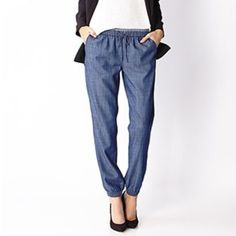 Denim jogger pants Nwt... Super cute Forever 21 Pants Track Pants & Joggers