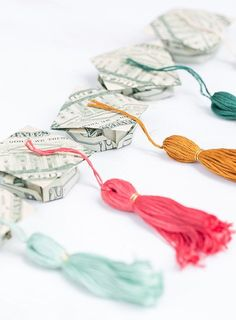 Origami Money Graduation Caps + Tassels