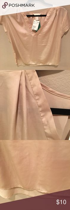 Soft dress shirt This is a soft silky sort of goldish creamish colored plates on either side of the neck with the Sleeve brand-new tags still on. H&M Tops Blouses