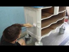 Painting, Staining, and Glazing a Provincial Dresser - YouTube