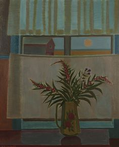 Willow Herb in the Window - Veikko Vionoja 1975 Finnish Oil , 100 x 81 cm. Art And Illustration, Scandinavian Modern, Global Art, Art Market, Modern Art, Past, Ramen, Auction, Herbs