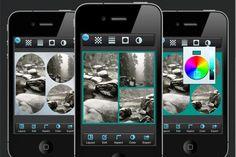 Pic Stitch     A ideia principal do aplicativo é criar mosaicos com as suas fotos. No entanto, ele também é uma ótima ferramenta para realizar ajustes em suas fotos. Existem várias disponíveis, que permitem cortar, girar, desfocar, colorir e até colocar figuras em suas imagens, como corações, balões de diálogo, bigodes, óculos de sol, etc.  Ao final da edição, o Pic Stitch permite salvar a foto no álbum do iPhone ou compartilhar via Twitter, Facebook, E-mail e Instagram.