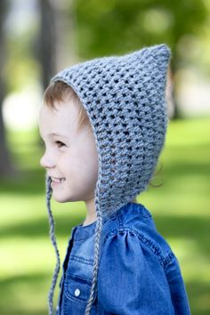 Simple Crocheted Pointed Bonnet - Free Toddler Size Pattern! Great for newbie beginners or for a quick afternoon project.