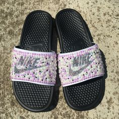 big sale 63c29 e9e32 Purple passion inspired bedazzle Nike Slides Available NOW and for only  45.00. That is correct