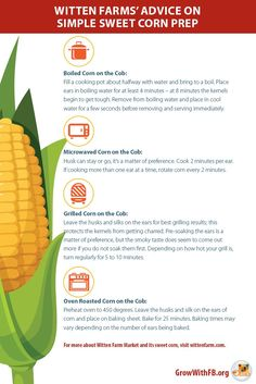 Pinterest friendly tips on how to boil, microwave, grill or oven-roast sweet corn.