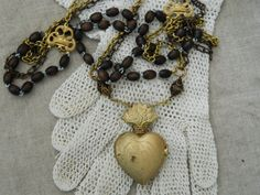 Ex Voto Sacred Heart Rosary Chain Assemblage Necklace by 58Diamond, $120.00