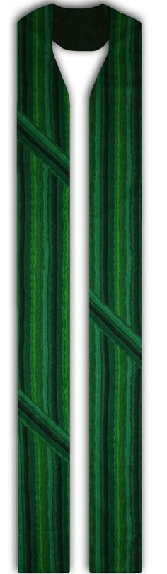Green cotton fabric with vertical stripes in different shades of green  Three diagonal stripes, two on one side and one on the other  Stole widths 5 ,