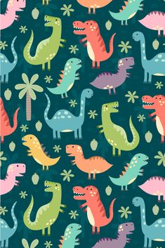 Funny dinos art for kids. Nursery print It's a dino party! I'm happy to introduce my new set of funny dinosaurs. This set includes 3 seamless patterns, 4 cute illustrations/prints and clipart (isolated elements). Sheldon The Tiny Dinosaur, The Good Dinosaur, Cartoon Dinosaur, Dinosaur Funny, Dinosaur Art, Illustrator, Dinosaur Wallpaper, Dinosaur Silhouette, Inka