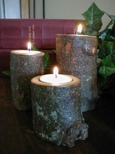 Log candles holders - great for next to your fireplace or even on the front porch...