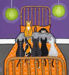 The Cat Alarm 2 and Cats Original Folk Art by KilkennycatArt
