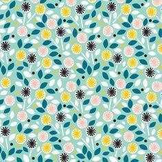Cloud9 Fabrics - Organic Cotton - Glint - Floret Turquoise - Poplin by the Yard