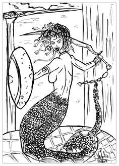 myths legends coloring pages for adults coloring page adults medusa valentin