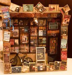 Dollhouse miniature bookstore shadowbox