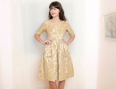Vintage 1950s Dress - Gold Party Dress with Brocade Roses - S / M. $165.00, via Etsy.