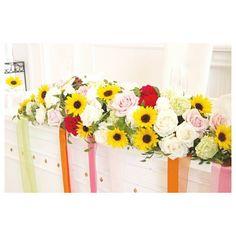 . . サマーウェディングは ひまわりでとびきり可愛く♡ . #flowerwalkpopo #富山県 #結婚式 #ウェディング #結婚式準備 #花嫁準備…