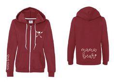 MAMA BEAR zip hoodie by humormetees on Etsy