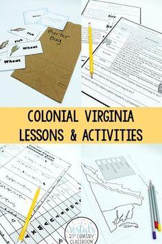 Fun games and activities to teach your Colonial Virginia unit! #vestals21stcenturyclassroom #virginiastudies #colonialvirginia