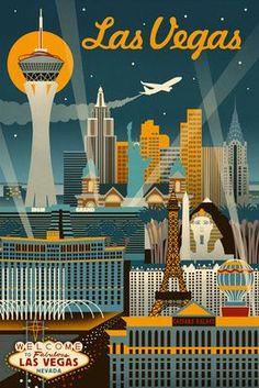 Las Vegas, Nevada - Retro Skyline - Lantern Press