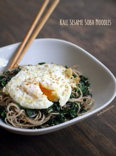 Kale Sesame Soba Noodles with  Fried Egg