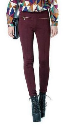 Love Love LOVE this Color! Raisin Skinny Pants with Zip Detail #Raisin #Skinny #Leggings #Fall #Color #Fashion #Trends