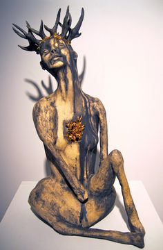 """Kimberly Cook: Trophy, 35"""" x 23"""" x 20"""", ceramic, mason stain, gold luster, 2011"""