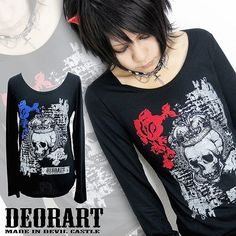 Flocky & Bleach Print Long Sleeve T-shirt (Crown Skull & Rose) / http://www.cdjapan.co.jp/products?term.shop=apparel&term.brand_id=100000102&opt.is_group_default=1&order=new