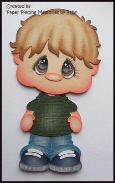 Boy Brown Hair Premade Paper Piecing Die Cut for Scrapbook Page byBabs