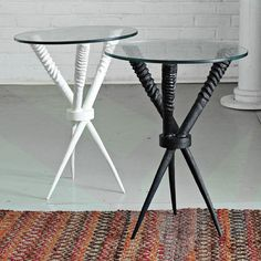West Elm Oryx side tables.  Nice size for small space.